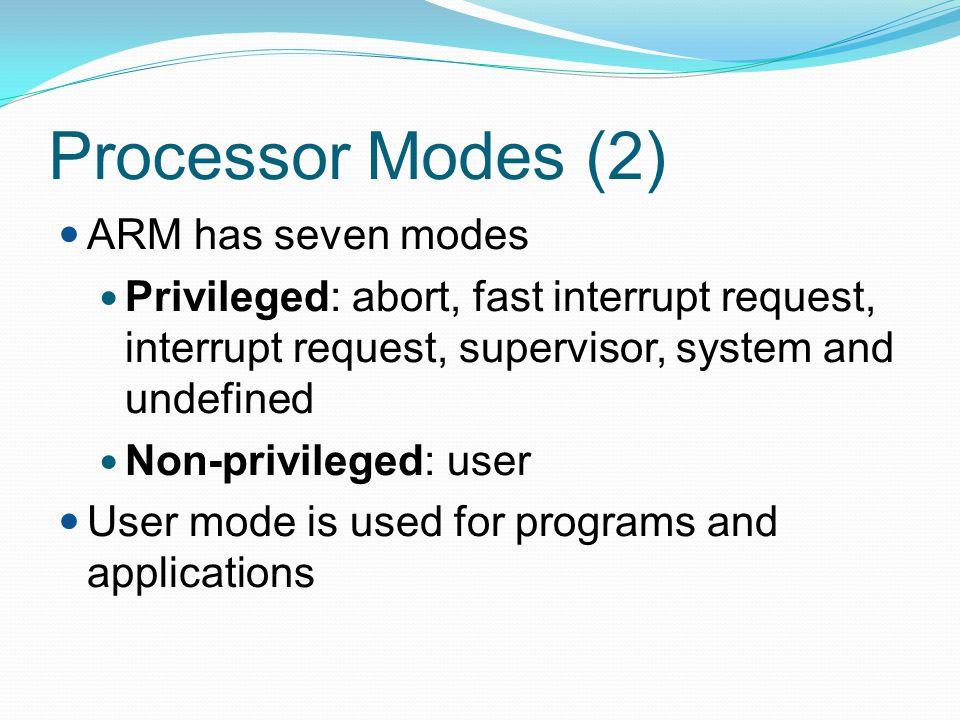 Processor Modes (2) ARM has seven modes