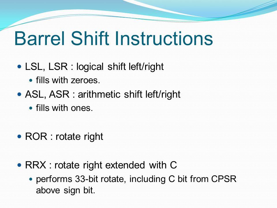 Barrel Shift Instructions