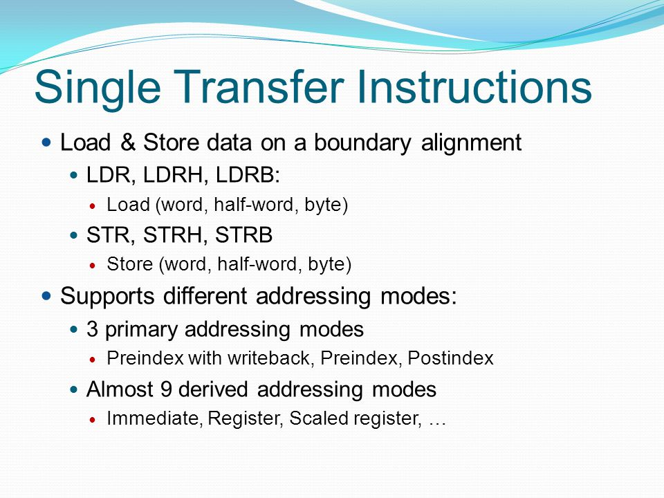 Single Transfer Instructions