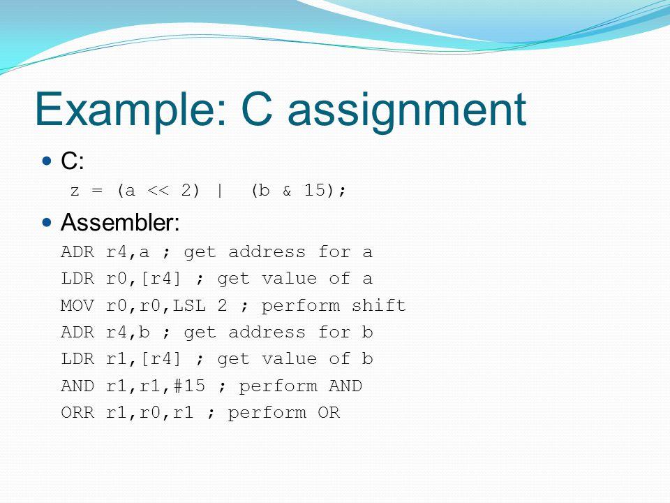 Example: C assignment C: Assembler: z = (a << 2) | (b & 15);