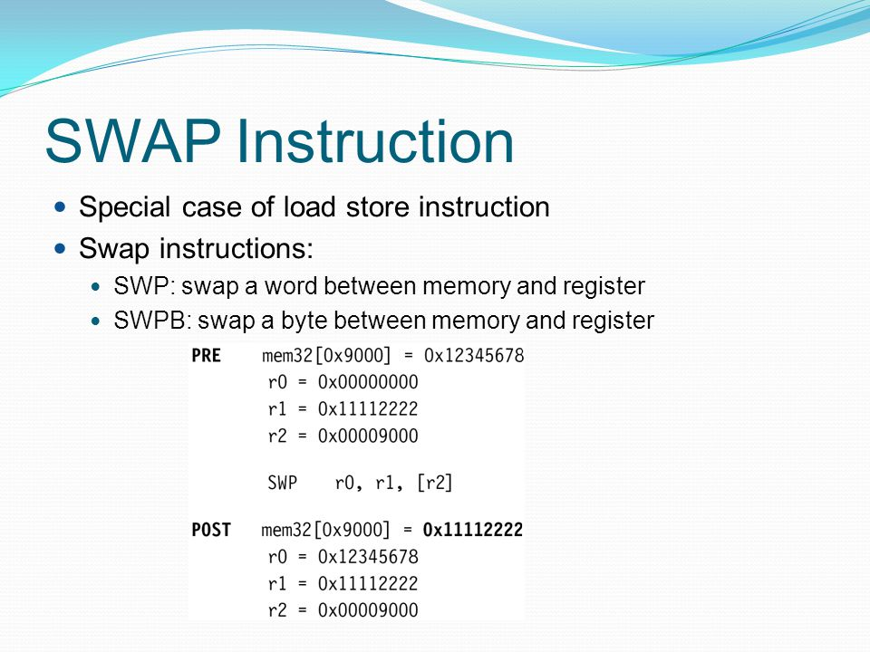 SWAP Instruction Special case of load store instruction