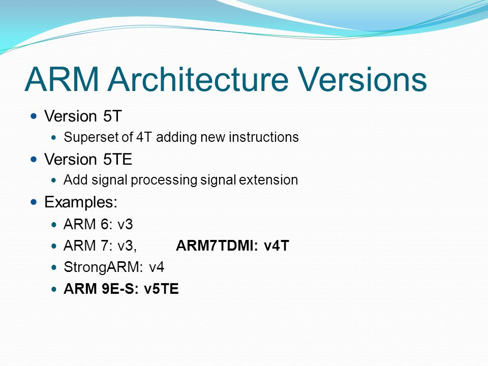 ARM Architecture Versions