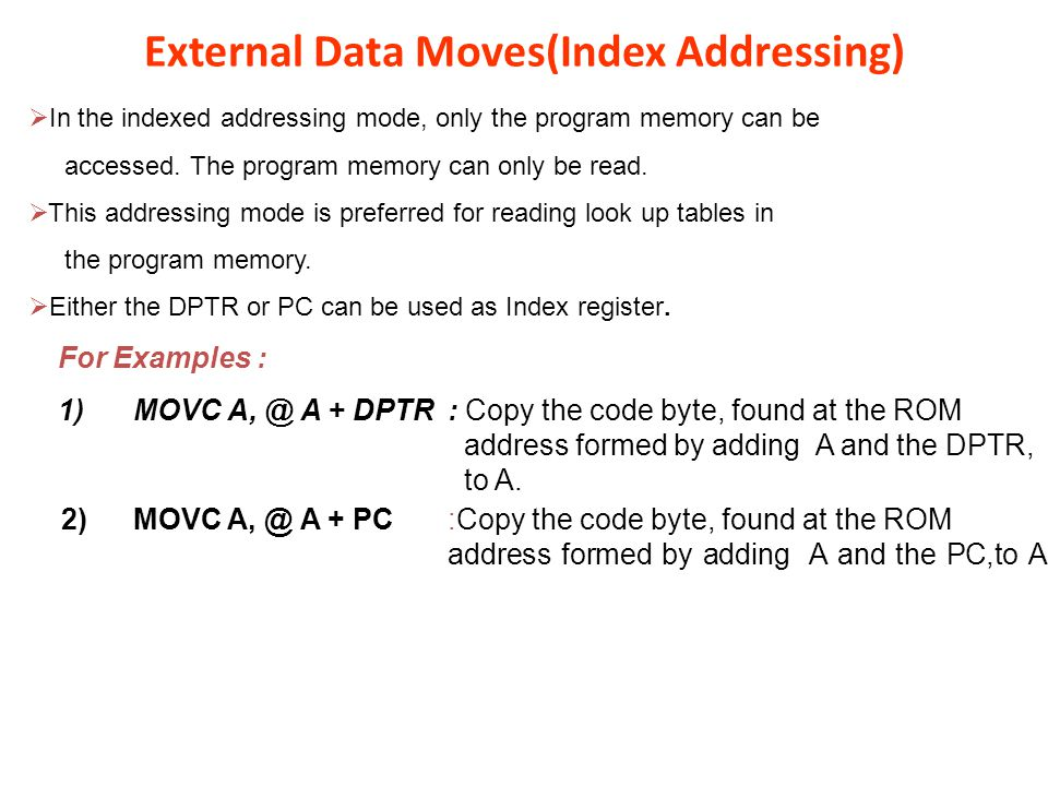 External Data Moves(Index Addressing)