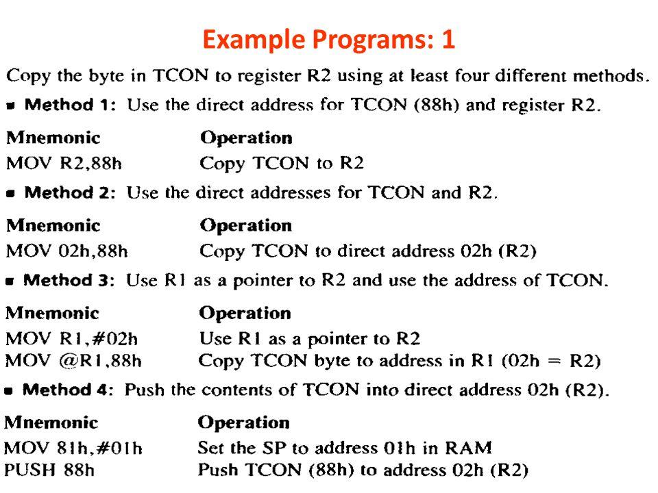 Example Programs: 1