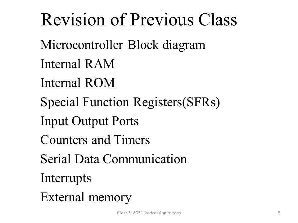 Revision of Previous Class