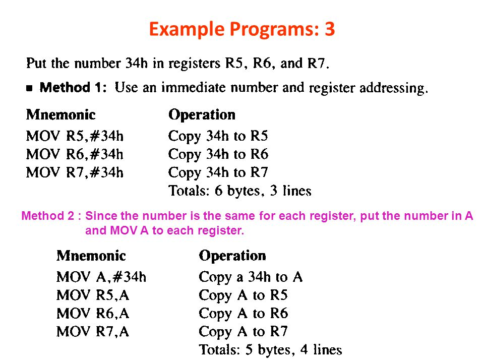Example Programs: 3 Method 2 : Since the number is the same for each register, put the number in A.