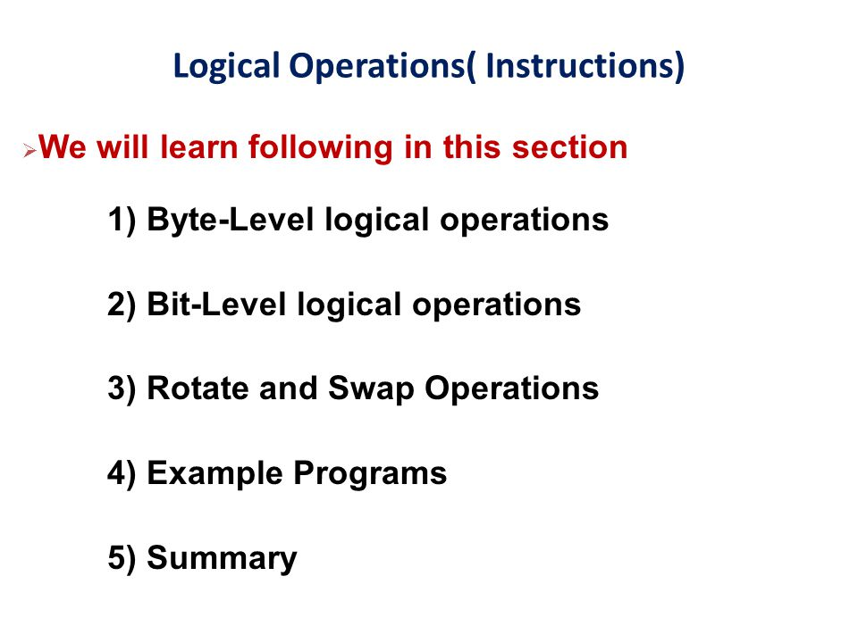 Logical Operations( Instructions)