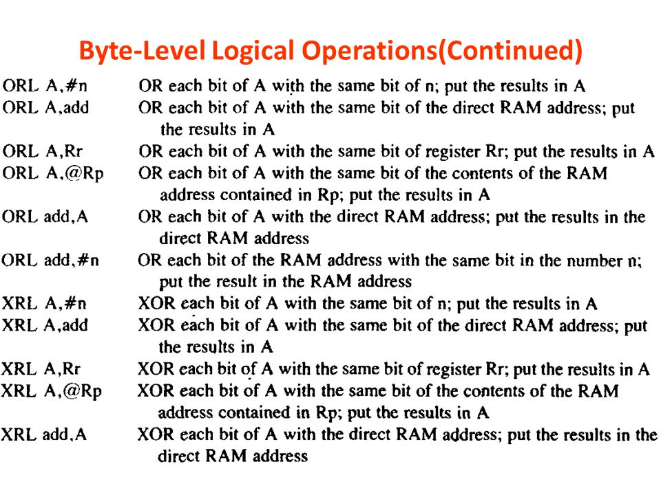 Byte-Level Logical Operations(Continued)