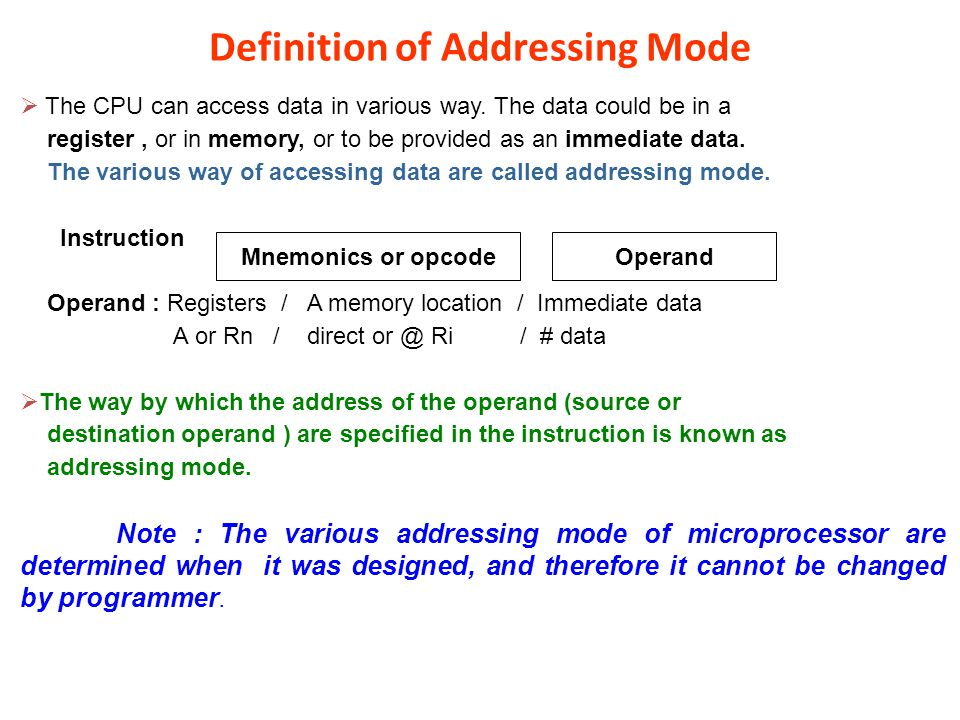 Definition of Addressing Mode