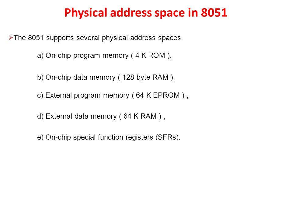 Physical address space in 8051