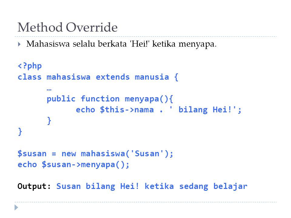 Method Override Mahasiswa selalu berkata Hei! ketika menyapa.