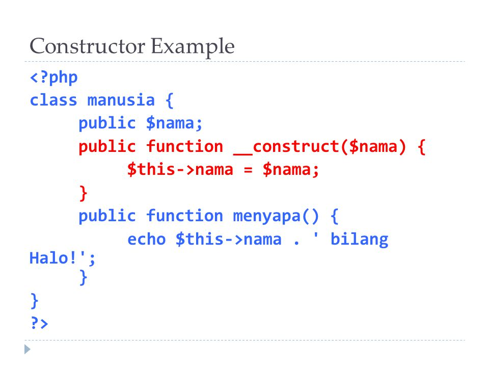 Constructor Example
