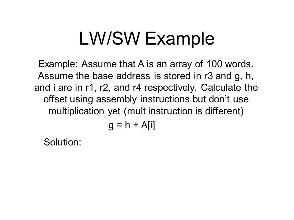 LW/SW Example