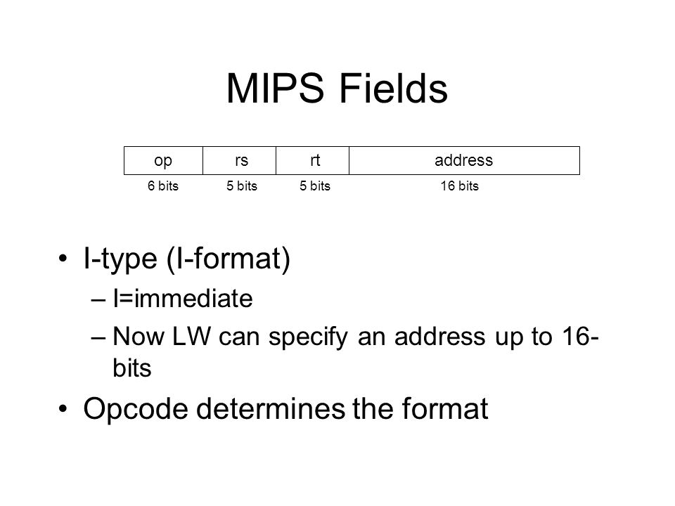 MIPS Fields I-type (I-format) Opcode determines the format I=immediate