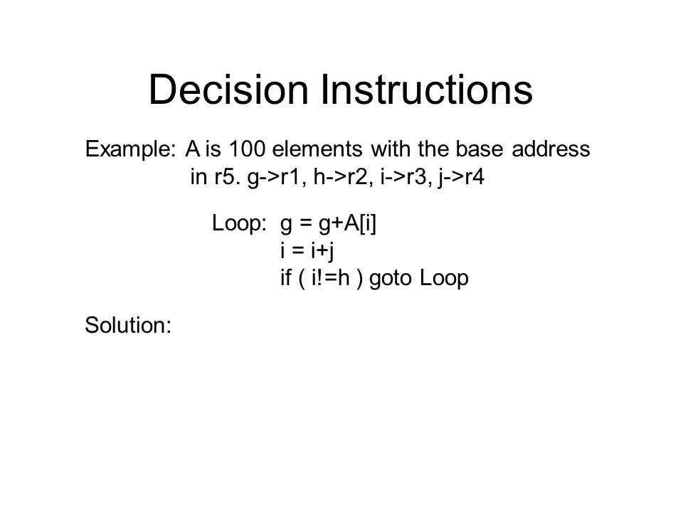 Decision Instructions