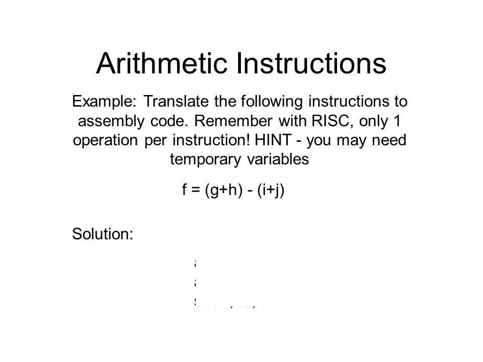 Arithmetic Instructions