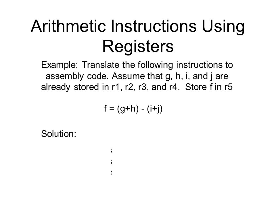 Arithmetic Instructions Using Registers