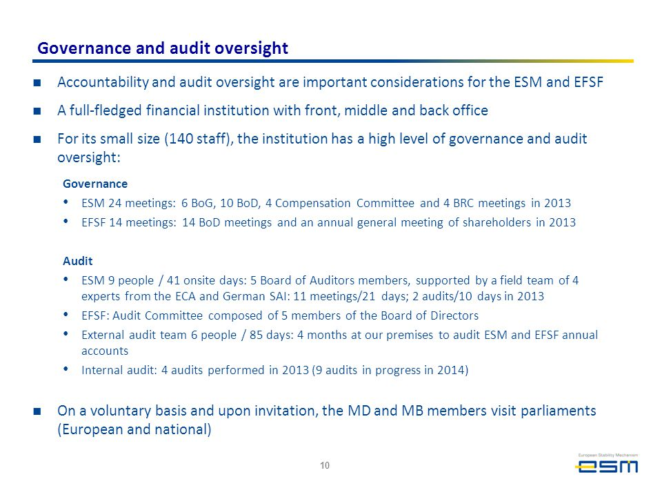 Governance and audit oversight