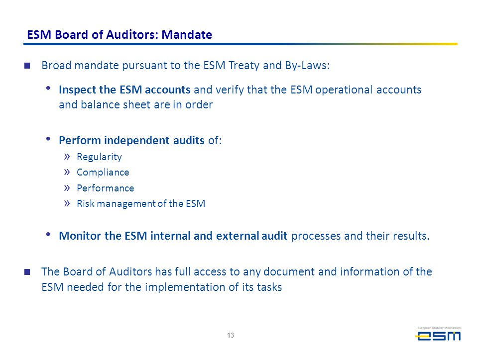 ESM Board of Auditors: Mandate