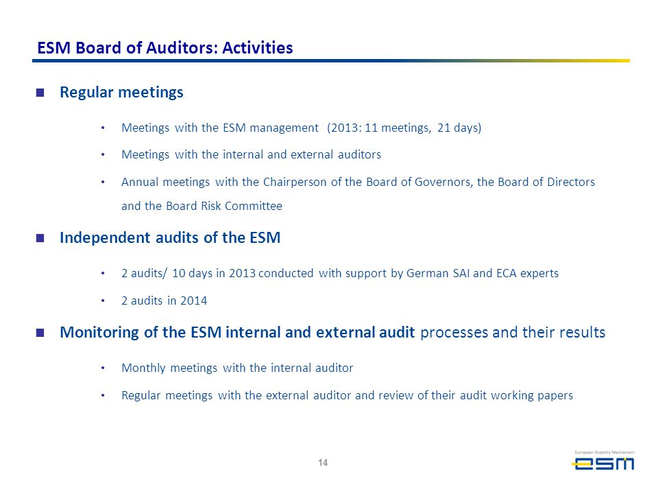 ESM Board of Auditors: Activities