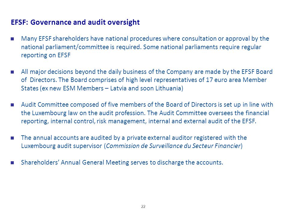 EFSF: Governance and audit oversight