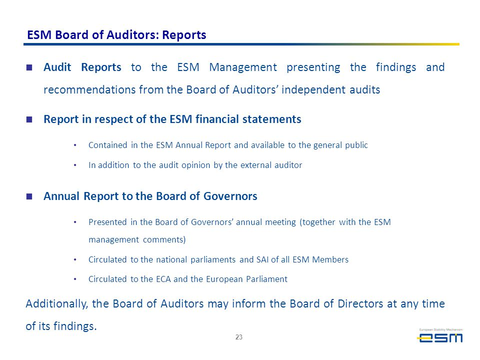 ESM Board of Auditors: Reports