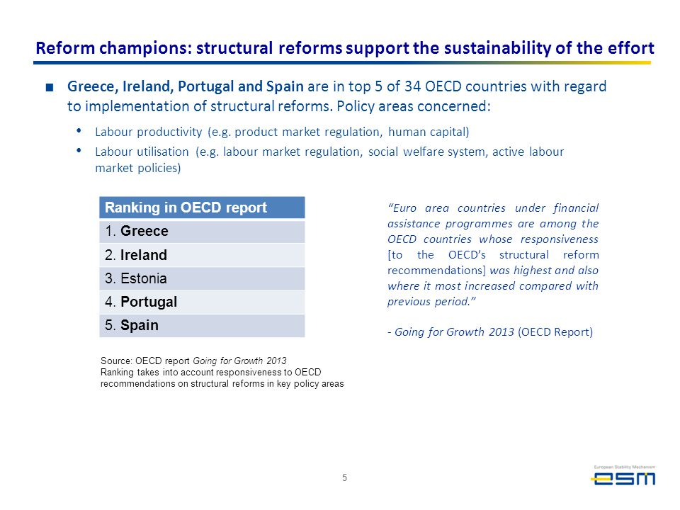 Reform champions: structural reforms support the sustainability of the effort