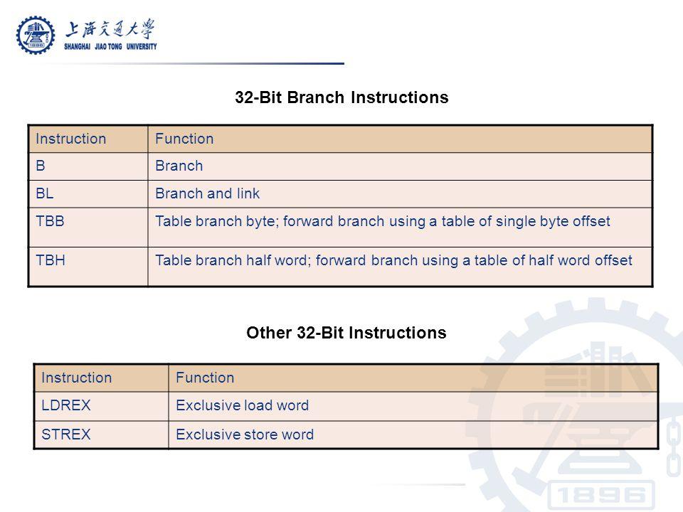 32-Bit Branch Instructions