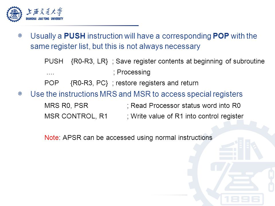 PUSH {R0-R3, LR} ; Save register contents at beginning of subroutine