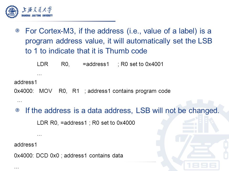 If the address is a data address, LSB will not be changed.