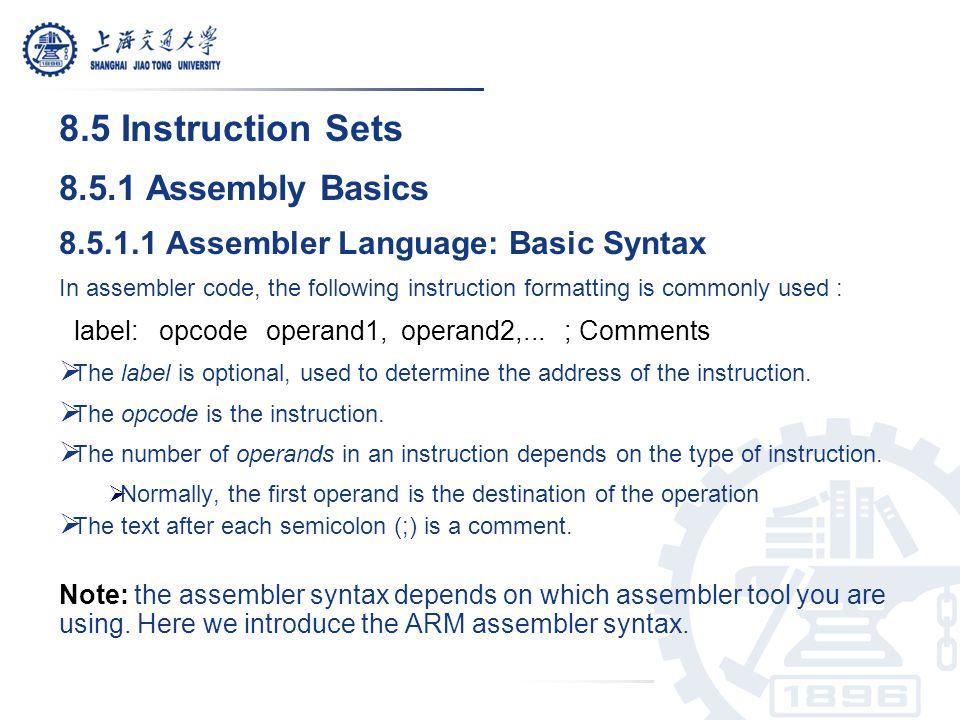 8.5 Instruction Sets 8.5.1 Assembly Basics