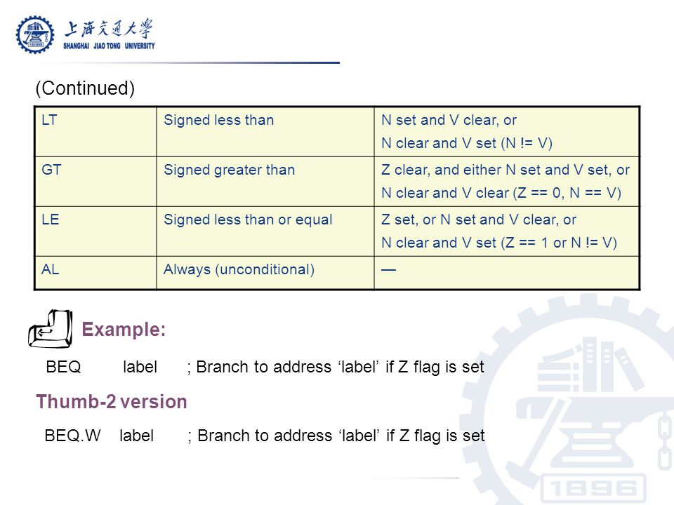 BEQ label ; Branch to address 'label' if Z flag is set Thumb-2 version