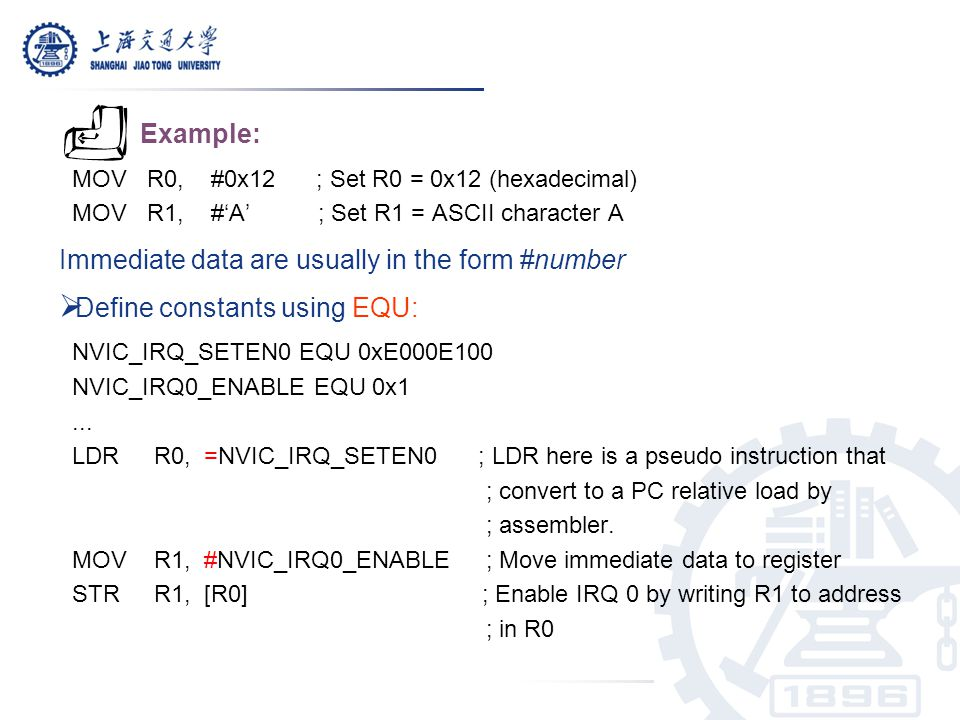 Immediate data are usually in the form #number