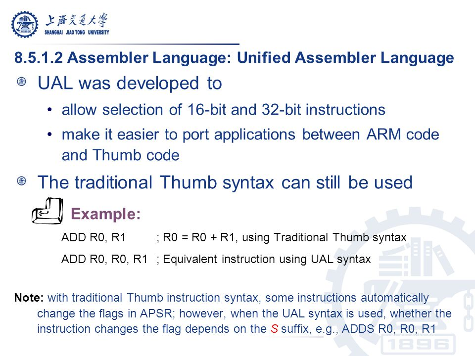 The traditional Thumb syntax can still be used