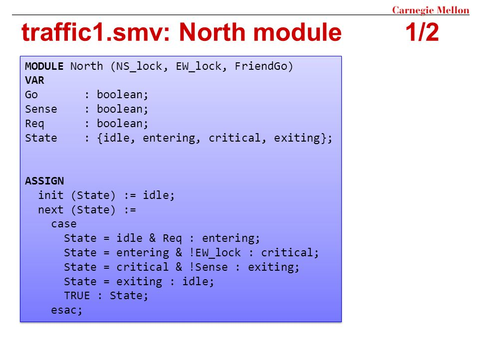 traffic1.smv: North module 1/2