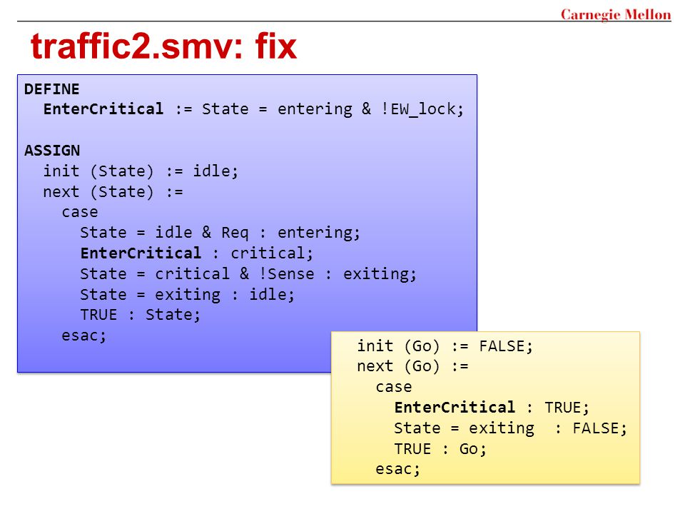 traffic2.smv: fix DEFINE EnterCritical := State = entering & !EW_lock;