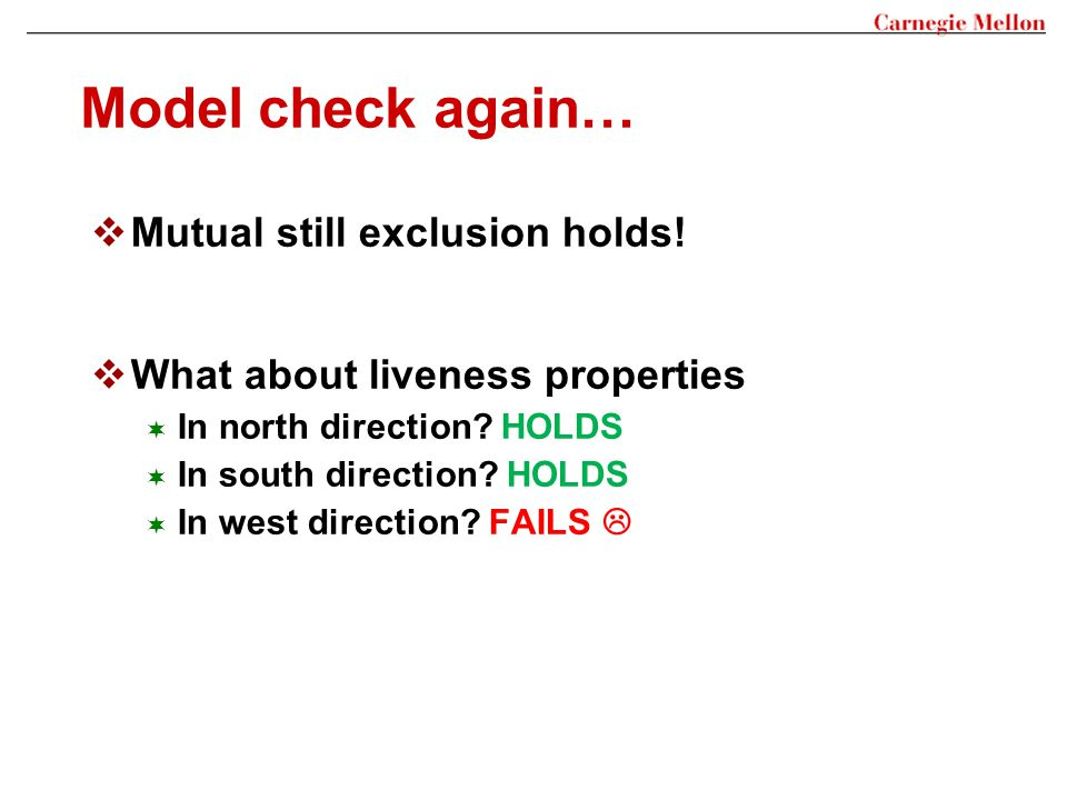 Model check again… Mutual still exclusion holds!