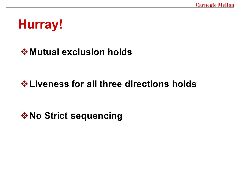 Hurray! Mutual exclusion holds Liveness for all three directions holds