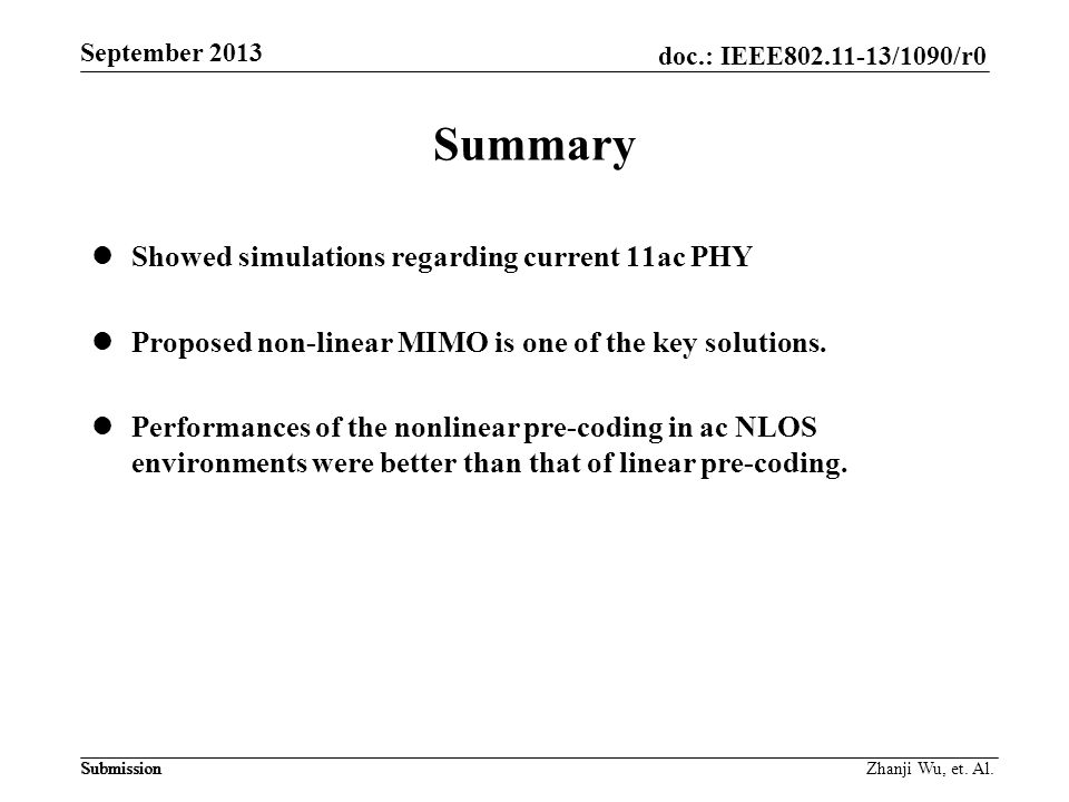 Summary Showed simulations regarding current 11ac PHY