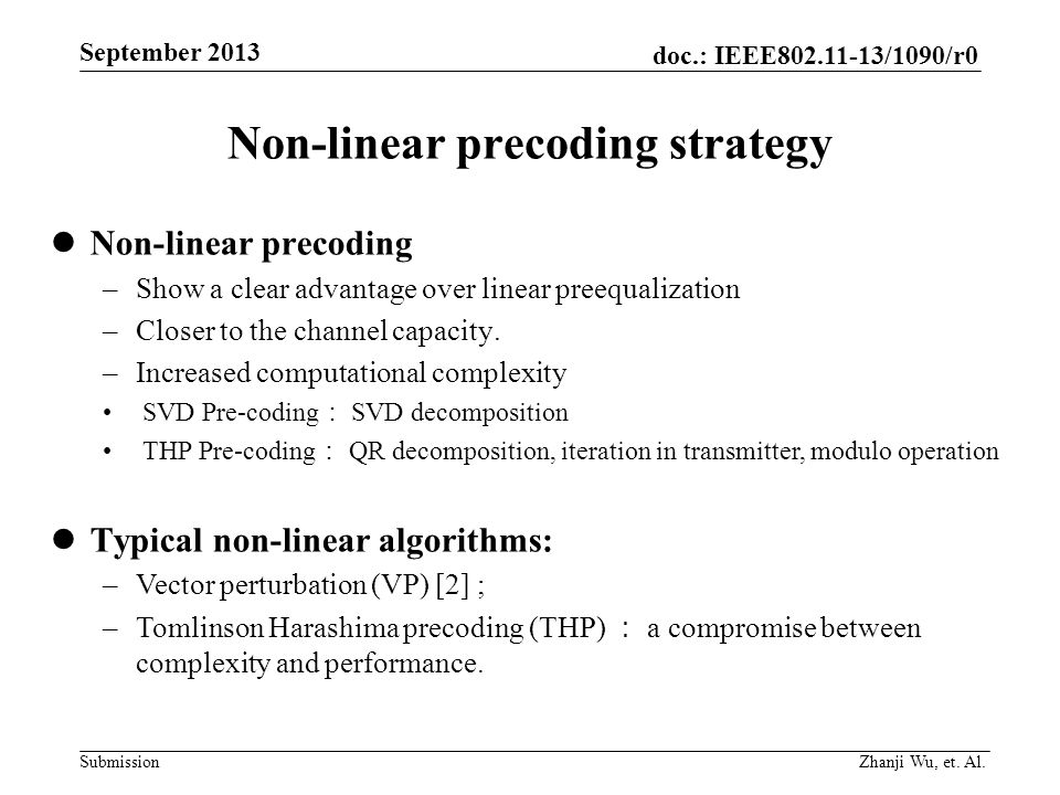 Non-linear precoding strategy
