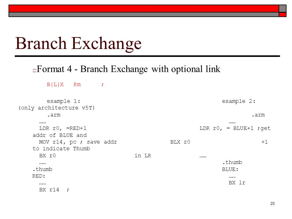 Branch Exchange Format 4 - Branch Exchange with optional link