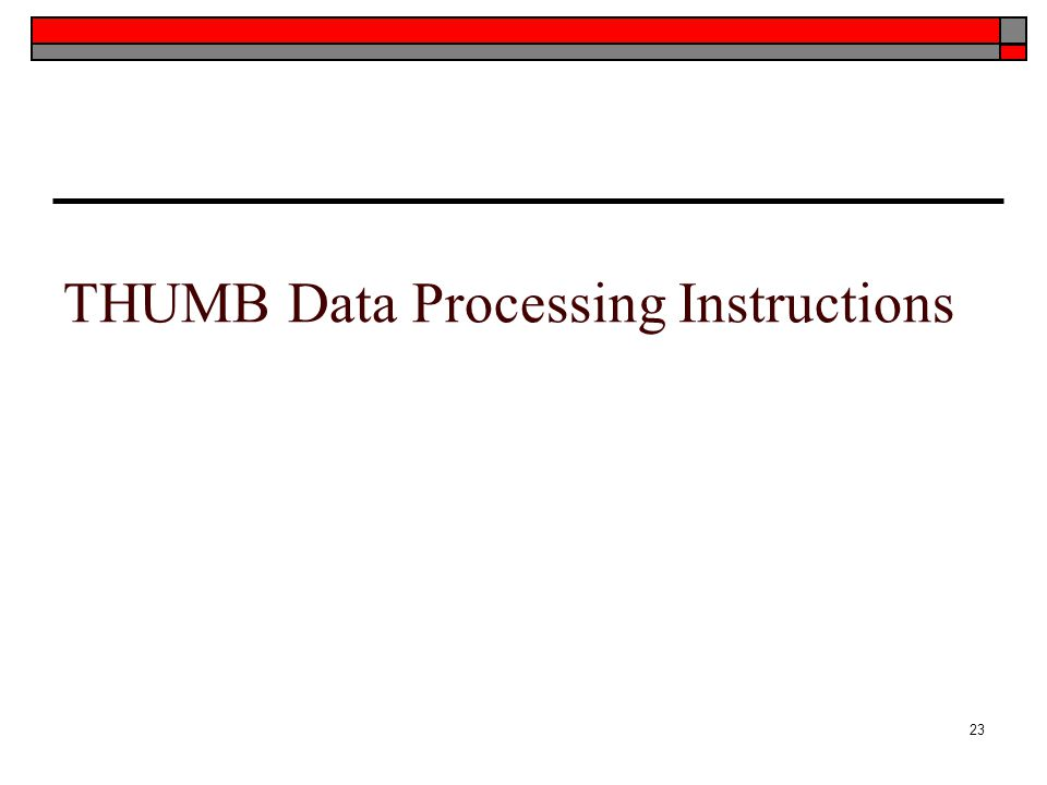 THUMB Data Processing Instructions