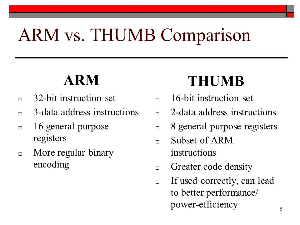 ARM vs. THUMB Comparison