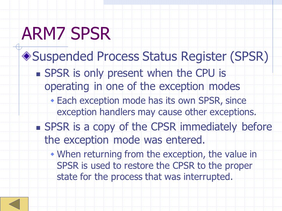ARM7 SPSR Suspended Process Status Register (SPSR)