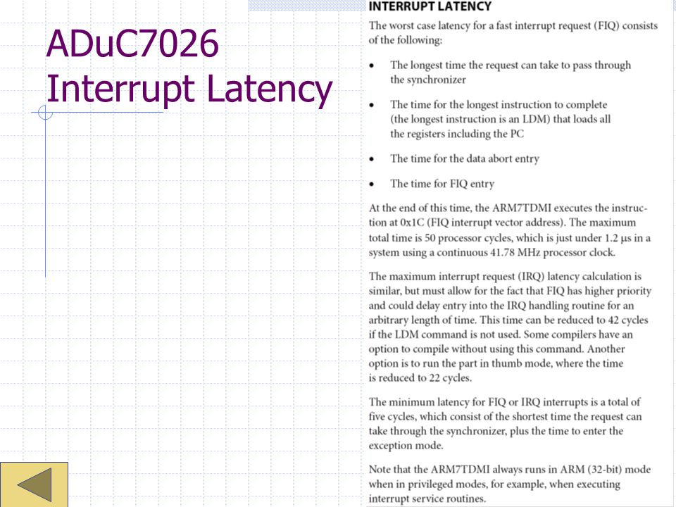 ADuC7026 Interrupt Latency