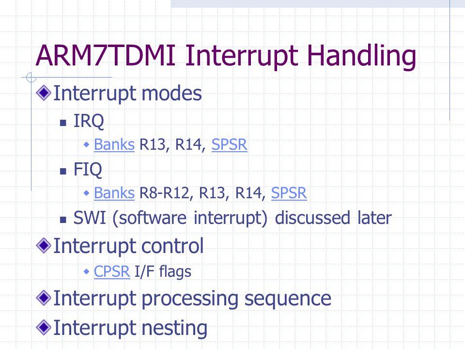 ARM7TDMI Interrupt Handling