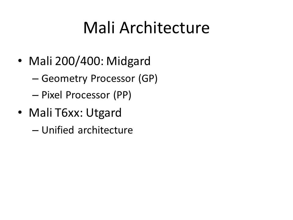 Mali Architecture Mali 200/400: Midgard Mali T6xx: Utgard