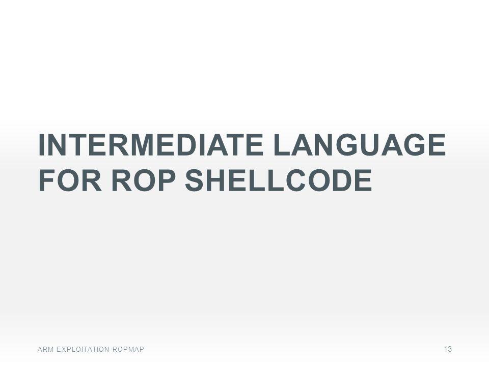 Intermediate language FOR rop shellcode