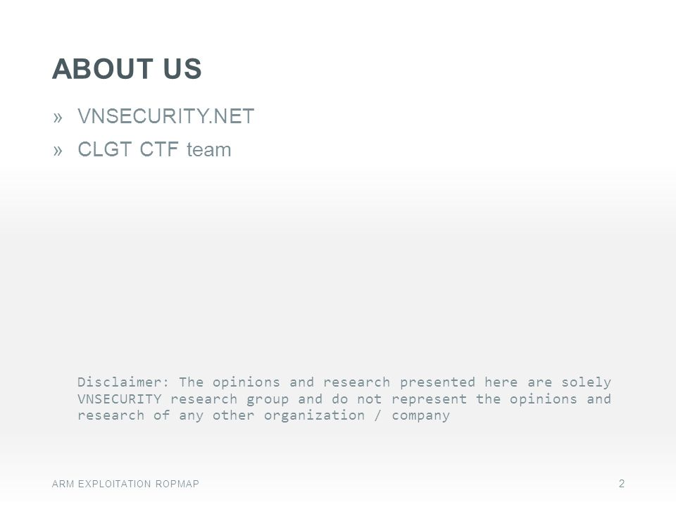 ABOUT US VNSECURITY.NET CLGT CTF team