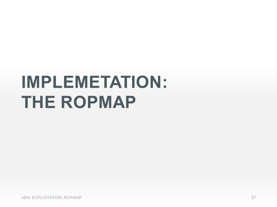 IMPLEMETATION: THE ROPMAP